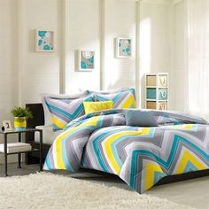 bed sets gray and yellow and blue - Google Search