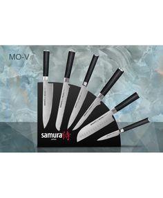 Набор из 6 кухонных стальных ножей и магнитной подставки Samura Mo-V SKM-007/G-10