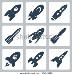 Vector isolated rockets icons set