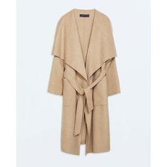 Zara Long Coat (€170) ❤ liked on Polyvore featuring outerwear, coats, zara, jackets, camel, camel coat, long coat, long beige coat, long camel coat and long length coats