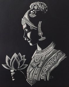 Rupa's art gallery, how-to videos Pencil Art Drawings, Art Drawings Sketches, Zentangle Drawings, Zentangles, Mandala Art, Mandala Drawing, Indian Art Gallery, Rajasthani Art, Black Paper Drawing