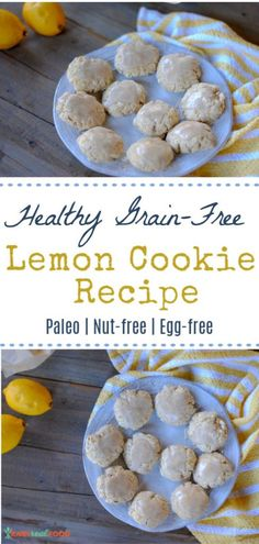 Healthy paleo lemon cookie recipe - nut-free and vegan Paleo Cookie Recipe, Gluten Free Cookie Recipes, Delicious Cookie Recipes, Paleo Recipes Easy, Healthy Dessert Recipes, Gluten Free Desserts, Whole Food Recipes, Paleo Dessert, Beef Recipes