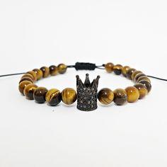 Pulseira Masculina Pedra Natural Olho De Tigre Coroa Rei mens bracelets fashion style cocar brasil
