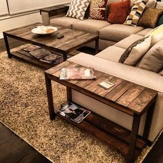 "105 Likes, 15 Comments - Redemption Rustics (@redemptionrustics) on Instagram: ""Nice little trifecta table set! Custom-made to fit this couch perfectly. Including: coffee table,…"""