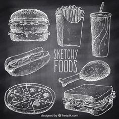 Variedad de comida rápida con tiza dibujada a mano Vector Gratis