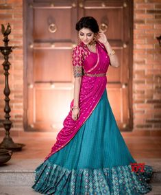 Actress Athulya Ravi Beautiful Traditional Stills - Social News XYZ Lehenga Saree Design, Half Saree Lehenga, Lehnga Dress, Lehenga Designs, Lehanga Saree, Net Lehenga, Half Saree Designs, Bridal Blouse Designs, Saree Blouse Designs