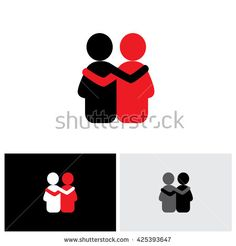 vector logo icon of friendship, dependence, empathy, bonding. this also…