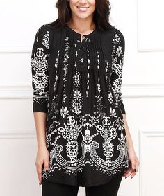 This Black Damask Notch Neck Tunic - Plus is perfect! #zulilyfinds  Love black and white