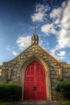Red Doors of  St John's Lutheran Church