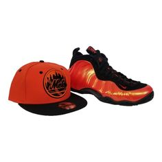 the best attitude 19c10 deb2f Matching New Era New York Mets Snapback For Nike Foamposite Habanero Red