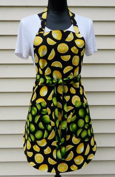 Ladies Reversible Lemon Lime Full Apron Mother's Day by NessasNest