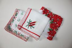 Retro Red Holiday Handkerchiefs: Poinsettias by FelicesFinds