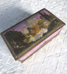 Antique Salvaged Palace of Fine Arts Tin SF Panama Pacific Exposition England Cookie Tin Classical Architecture Canco Jackpot Jen Vintage by JackpotJen on Etsy