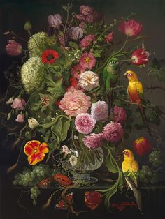 Flowers with Exotic Animals - Yana Movchan. Gorgeously painted in the style of the Dutch masters.