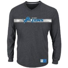 NFL Detroit Lions Men's Victory Pride V Long Sleeve V-Neck Tee, Charcoal/Stone Gray, Small Display your fandom with this V Neck Seeded NFL Victory Pride Long Sleeve T-Shirt. This team-spirited gem features Specialty Ink bold screen print graphics Made for casual or die-hard fans. #nfl #detroitlions #football #matthewstafford
