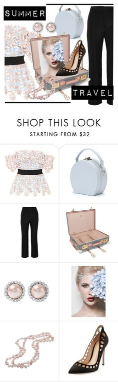 """Summer travel"" by dmg555 ❤ liked on Polyvore featuring self-portrait, Handle, Erdem, Globe-Trotter, Miu Miu, DaVonna and Gianvito Rossi"