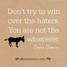 Don't try to win over the haters. You are not the jackass whisperer. - Brene Brown @notsalmon