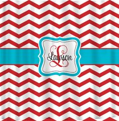 Personalized Shower Curtains - Red and White Chevron -- Can do ANY color accent via Etsy