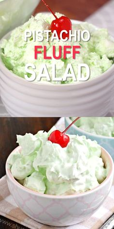 fruit salad Easy, 4 ingredient Pistachio Fluff Salad, also known simply as Pistachio Salad or Watergate Salad! Best served with friends and family, this recipe makes a great potluck dish! Fluff Desserts, Jello Recipes, Dessert Salads, Pudding Desserts, Köstliche Desserts, Delicious Desserts, Yummy Food, Cool Whip Desserts, Potluck Salad