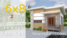 Small House Design Plans with 2 Bedrooms Full Plans - House Plans Sam Modern Bungalow House, Bungalow House Plans, Shop House Plans, Dream House Plans, Simple House Plans, Simple House Design, Modern House Plans, Flat Roof House, House 2