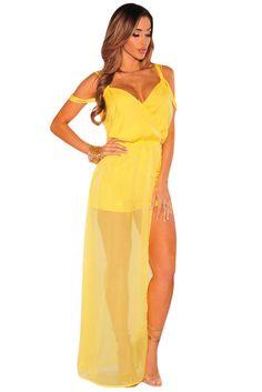 ba9c84e18d6a Yellow Romper Off The Shoulder Jumpsuit V neck Club Formal Sexy Casual  64144 M