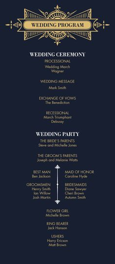 Wedding or event program or schedule. Gold and navy or black signature to the Art Deco style Gatsby Collection. All designs © Copyright Southland Fox. https://www.etsy.com/shop/SouthlandFox