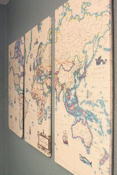 How to make put a map on canvas for art what about using pins or vintage map diy decoupage mod podge wall decor 14 diy map projects for travelling lovers gumiabroncs Choice Image