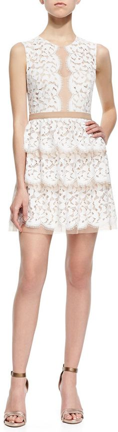 BCBG Two-Tone Tiered Lace Dress