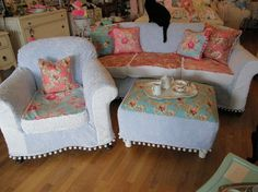 shabby chic sofa chair ottoman slipcovered chenille bedspreads roses pom poms