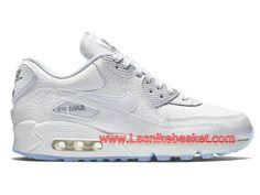 timeless design 392a6 ea2b1 Nike Wmns Air Max 90 Premium Blance 443817 101 Femme enfant Nike Pas cher  Chaussures Blanc