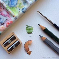 Paintings for ants : Lorraine Loots. I painted this little apple for the Lyle & Scott 140 Series, and the original is currently up for auction.