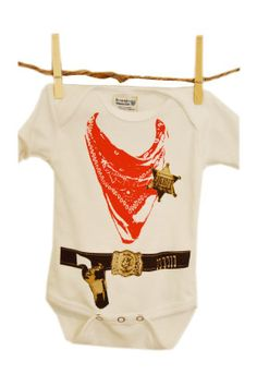 Cowboy Baby Onesie with Sheriff Badge and Six by ScribblesByKyla, $20.00 waylon needs this!