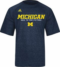Michigan Wolverines Heather Blue Climalite Slogan Sidelines Top by Adidas $27.95