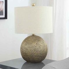 Creek Classics 25-inch Antique Gold ball Table Lamp    $67