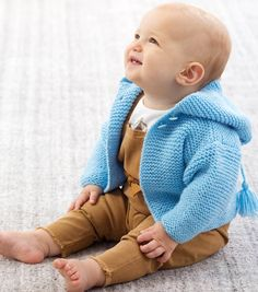 The Garter Stitch Baby Sweater Free Knitting Pattern will keep your baby wonderfully warm. Free Baby Sweater Knitting Patterns, Free Knitting, Sock Knitting, Sweater Patterns, Vintage Knitting, Charity Knitting, Knitting Paterns, Cardigan Pattern, Knitting Needles