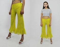 Vintage 90s Electric Yellow Silver Sparkle by psychopompvtg