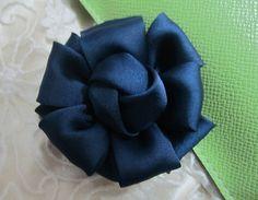 4pieces dark bule Satin Diy fabric flowers for by sunjewelry7, $4.55