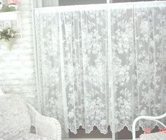 Lovely Pair Of Vintage Lace Curtains By Martha Stewart. A Beautiful Design  With Insets Of