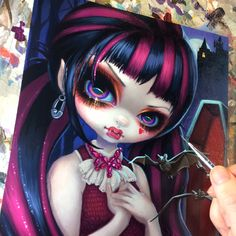 """Almost done with Monster High's """"Draculaura"""" (for Mattel's """"Joys of Toys"""" show at Gallery1988 West in LA) ©Mattel - will help raise funds for Mattel Children's Hospital at UCLA. Originals and prints will be available at the show June 23 - email gallery1988west@gmail.com for details. #strangeling #jasminebecketgriffith #vampire #dracula #draculaura #monsterhigh #mattel #joysoftoys #gallery1988 #gallerynineteeneightyeight #gothicart #surreal #surrealism #wonderland #painting #fantasyart #pop"""