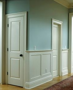 Wainscoting on a budget - love all the pictures  it shows under windows and around weird corners.