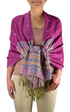 How To Wear Pashmina, Pashmina Wrap, Pashmina Shawl, Magenta, Ethnic Design, Bohemian Look, Couture, Wrap Style, Fashion Brands