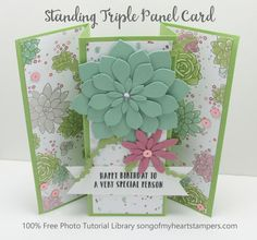 Standing triple panel card stampin up Lyssa free cardmaking tutorial library Fun Fold Cards, Pop Up Cards, Folded Cards, Card Patterns, Heart Cards, Card Sketches, Card Making Tutorials, Card Making Techniques, Cardio