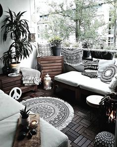Image may contain: People sitting, living room, table and interior – Sophie Schäfchen - All For Garden Small Balcony Decor, Balcony Design, Balcony Ideas, Balcony Furniture, Outdoor Furniture Sets, Deco Boheme Chic, Small Apartments, Apartment Living, Living Room Decor