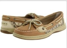 Tan sperry with leopard print