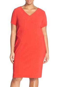 Sejour Short Sleeve Ottoman Rib Sheath Dress (Plus Size)