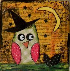 Owl Halloween Art Mixed Media