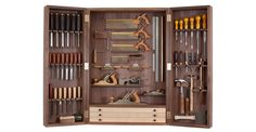Tool Cabinet - Haberdashery & Tools - Books, Bags & Stationery - The Conran Shop UK Woodworking Tool Cabinet, Essential Woodworking Tools, Unique Woodworking, Woodworking Hand Tools, Woodworking Workbench, Woodworking Workshop, Woodworking Projects, Woodworking Organization, Intarsia Woodworking
