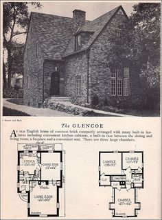Glencoe House Plan - American Residential Architecture - 1929 Home Builders Catalog - Clinker Brick English House Style Clinker bricks are unevenly or over-fired bricks that were often used to add texture and variety to Craftsman and English style homes. Architecture Design, Vintage Architecture, Residential Architecture, Glencoe House, Vintage House Plans, Vintage Homes, Tudor Style Homes, Storybook Cottage, English House