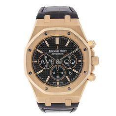 AP Audemars Piguet Royal Oak Chronograph 41 Rose Gold Watch Black Leather Strap