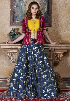 Buy Navy blue Silk Indian wedding lehenga choli in UK, USA and CanadaArt Silk Party Wear 3 Piece Navy Blue Lehenga With Embroidery WorkMehendi Sangeet Blue color Lehenga in Silk fabric with Embroidered, Sequence, Thread workEmbroidered Indo Western S Jacket Lehenga, Silk Lehenga, Anarkali, Choli Designs, Lehenga Designs, Blouse Designs, Gharara Designs, Mehandi Designs, Indian Designer Outfits